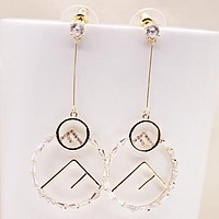 Fendi New fashion diamond letter round long earring women jewelry