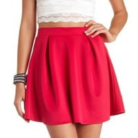 Pleated High-Waisted Skater Skirt by Charlotte Russe - Wine