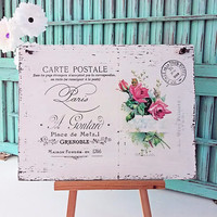 Shabby Chic French Handwriting Red or Pink Roses Postal Stamp Handmade Wooden Sign Home Decor Kitchen Bathroom Wall Hanging