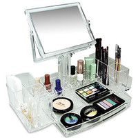 Ikee Design Luxury Cosmetic Makeup Acrylic Organizer With Two-Sided Mirror