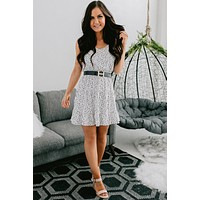 Your Best Self Patterned Tiered Ruffle Dress (Off White)