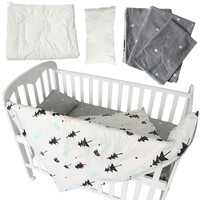 Baby Bedding Set 5 Pcs 100% Cotton Baby Crib Bedding Set Quilt Pillow With Filling Bed Sheet Star Stripe Patter Baby Bed Linen
