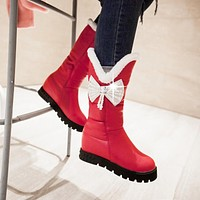 Winter Snow Boots with Pearl Rhinestone Bow Platform Women Shoes