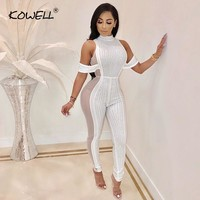 Drilling Women Jumpsuit Stand Neck Sexy Mesh Patchwork Slim Perspective Jumpsuit Night Club Female Bodycon Jumpsuit Plus Size