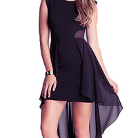 Black Mesh Tail Chiffon Dress