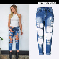 Women Ripped Denims Boyfriend Hole Jeans Trousers Pants _ 1078