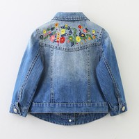 Trendy New Girls Denim Jackets Coats Floral Embroidery Children's Clothing Fashion Girls Outwear Spring Autumn Kids Jeans Jacket 2-9 Y AT_94_13