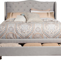 Cali Gray 3 Pc Queen Upholstered Bed w Storage