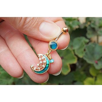 Gold Belly Rings Abalone Shell Crescent Moon Stars