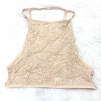 UNDER CONTROL LACE HIGH-NECK BRALETTE IN TAN