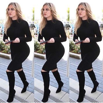 fhotwinter19 hot style hot sale fashion long-sleeved sexy bottoming tight skirt