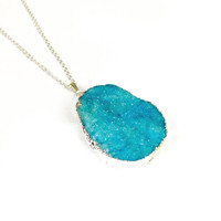 Silver Plated Bright Blue Druzy Necklace - Crystal & Druzy Jewellery, Druzy Jewelry, Druzy Jewellery