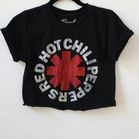 Red Hot Chili Peppers cropped distressed t shirt