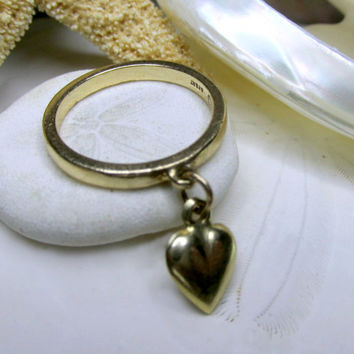 14k Gold James Avery Dangle Heart Charm Ring 2.55g  Size 5