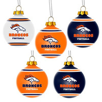 Denver Broncos  Official NFL 5 Pack Shatterproof Ball Ornament