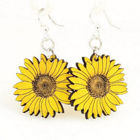 Sunflower Earrings - Laser Cut from Reforested Wood