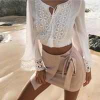 Hot Sale Long Sleeve Lace Patchwork V-neck Stylish Sexy Tops T-shirts [11132249735]