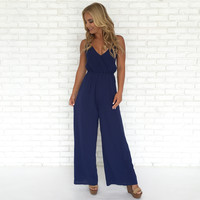 Dark Daze Jumpsuit in Navy Blue