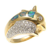 GENUINE AUSTRALIAN OPAL DIAMOND DOUBLE DOLPHIN RING IN SOLID 14K YELLOW GOLD