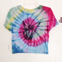 Tie Dye Crop Top Skeleton Skull Graphic Cropped Top Rave Festival Outfit
