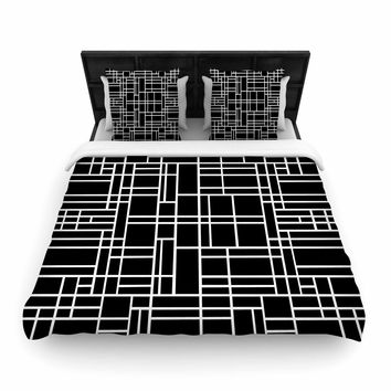 "Project M ""Map Outline Black"" Simple Geometric Woven Duvet Cover"