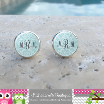 Shabby Chic Light Blue Damask Monogram Earrings, Monogram Jewelry, Monogram Accessories, Monogram Studs, Monogram Leverbacks, Gifts