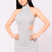 Back And Fourth Ribbed Dress - Grey