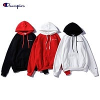 Champion Letter Embroidered Hooded Long Sleeve Sweater