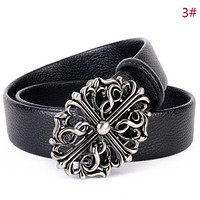 Samplefine2 Chrome Hearts Fashion New Cross Buckle Leather Women Men Leisure Belt 3#