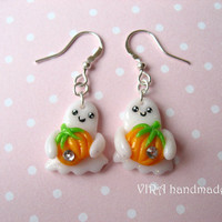 Cute kawaii autumn halloween ghost with pumpkin earrings