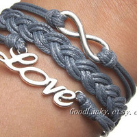 Unisex simple fashion silver 8 infinity wish and LOVE bracelet -- gray wax rope braided leather bracelet
