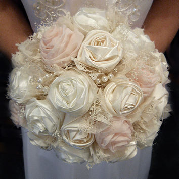 "Petal Pink and Ivory Bridal or Bridesmaid Bouquet. Colors are ivory and petal pink. Available as 8"" or 10""."