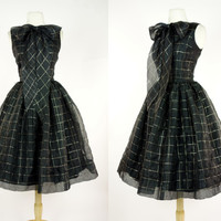 1950s black & gold dress, fit and flare metallic geometric grid print, bow ascot, sleeveless tea length party, prom, cocktail dress, Small