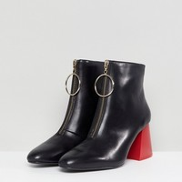 Mango Contrast Flared Heel Leather Ankle Boot at asos.com