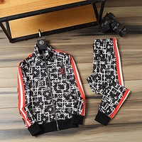LV Louis Vuitton Top Gift 2020 new color matching letter printing sports suit two-piece