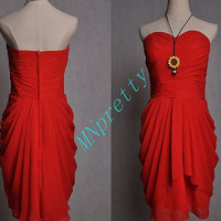 Short Red Knee Length Bridesmaid Dresses,Short Sweetheart Prom Dresses,Homecoming Dresses.Formal Party Dresses