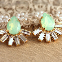 Swarovski Mint opal Green and white stud earrings bridal jewelry spring collection - 18k gold plated over brass rhinestone earrings.