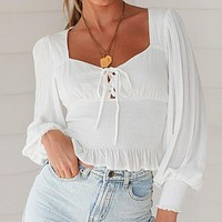Lace Up Women Blouse Shirts Ruffles Elegant Blouses Blusas Mujer