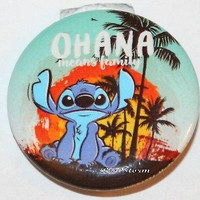 """Licensed cool Disney Lilo and Stitch Hawaii OHANA Family Sunset 1 1/4"""" Button Pin Back Pinback"""