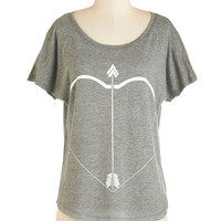 ModCloth Mid-length Short Sleeves Stop! In the Aim of Love Tee