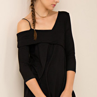 One Shoulder Fold Over Top