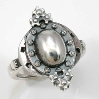 SteamPunk Silver Ring Gears Cogs and Rivets by SwankMetalsmithing