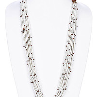 NECKLACE / MICRO BEAD / WOODEN / MULTI STRAND / MULTI LAYER / 1 INCH DROP / 30 INCH LONG / NICKEL AND LEAD COMPLIANT
