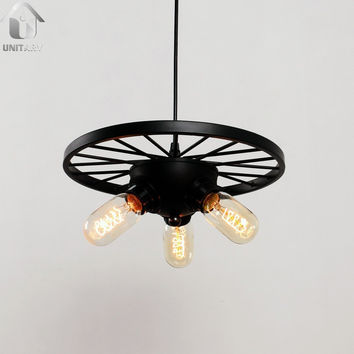 Black Vintage Hanging Ceiling Chandelier Max. 180W with 3 Lights Painted Finish