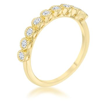 Bea CZ Delicate 18k Gold Band Ring | .3ct