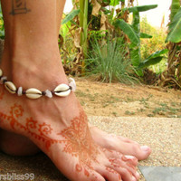 Cowrie Shell Rose Quartz Wooden Beads Anklet Ankle Chain Bracelet Boho Beach