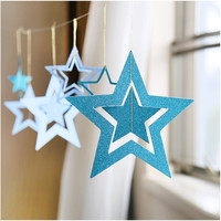 7 PCS Christmas Party Supplies Hollow Pentagram Star Ornaments Scene Layout  [9357947268]