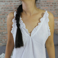 """Judy"" Linen Ruffled Nighty"