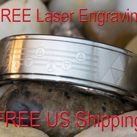 Tungsten Wedding Ring 8mm 1-Step Pipe Satin Finish Legend of Zelda Song of Storms & Triforce Design- FREE Inside Engraving