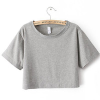 Grey Oversized All Basic Cropped Top